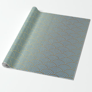 Art Deco Golden Waves Blue Pastel Vip Wrapping Paper