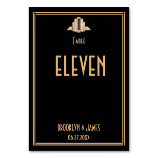 Art Deco Great Gatsby Black Wedding Table Numbers Table Cards