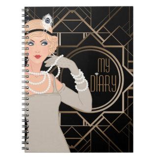 Art Deco Great Gatsby Girl   Notebook
