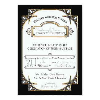 Art Deco Great Gatsby Style Typography n Lace Gold 13 Cm X 18 Cm Invitation Card