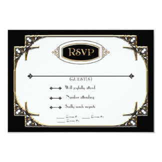 Art Deco Great Gatsby Style Typography n Lace Gold 9 Cm X 13 Cm Invitation Card