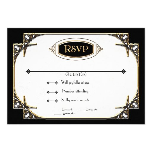 Art Deco Great Gatsby Style Typography n Lace Gold Custom Invitations