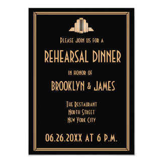 Art Deco Great Gatsby Wedding Rehearsal Invites