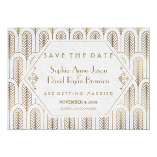 Art Deco Great Gatsby White Gold Save The Date Card