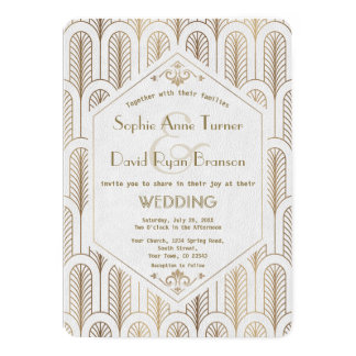 Art Deco Great Gatsby White Gold Wedding Card