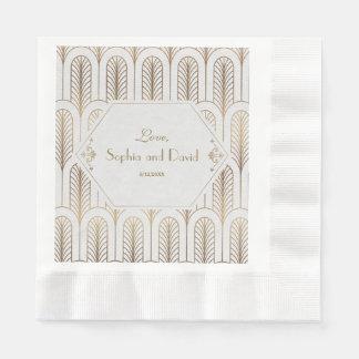 Art Deco Great Gatsby White Gold Wedding Disposable Serviette
