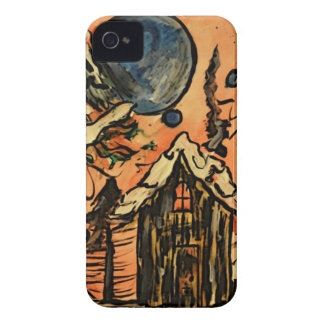 Art Deco Greetings Christmas Cottage Design iPhone 4 Cover