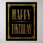 Art Deco Happy Birthday GATSBY print gold