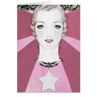 "ART DECO ""HAPPY PINK CHEER"" VINTAGE NEW YEAR GREETING CARD"