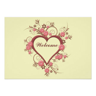 Art Deco Heart and Flowers Poster
