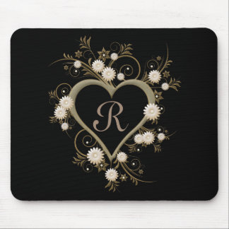 Art Deco Heart Gray, White and Gold Monogram Mouse Pad