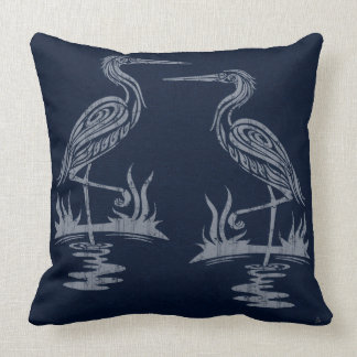 Art Deco Herons - Gray on Navy Blue Cushion