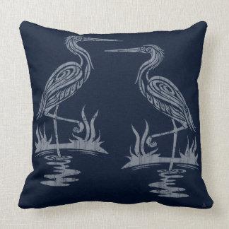 Art Deco Herons - Grey on Navy Blue Throw Pillow