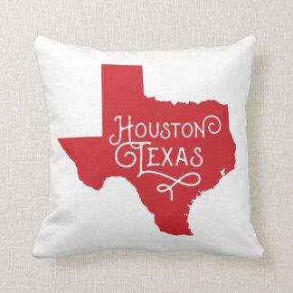 Art Deco Houston Texas Accent Pillow - Red Throw Cushions