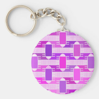 Art Deco industrial chic, violet, orchid, lavender Basic Round Button Key Ring