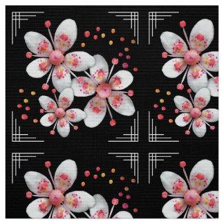 Art Deco-ish Apple Blossoms - White, Pink on Black Fabric