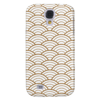 art deco,japanese fan pattern, gold,white,vintage, samsung galaxy s4 case