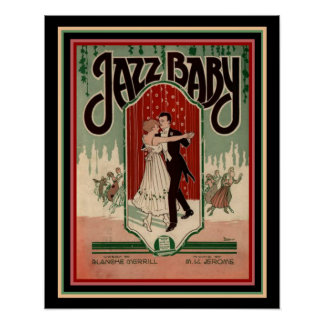"Art Deco ""Jazz Baby "" Sheet Music Poster 16 x 20"
