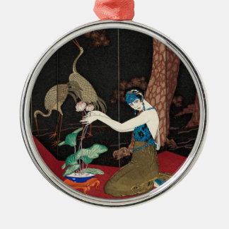 Art Deco Lady and Storks Metal Ornament