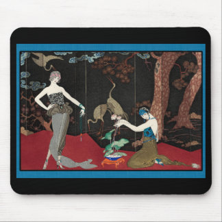 Art Deco Lady and Storks Mouse Pad