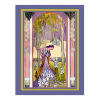 Art Deco Lady in the Garden Post Card