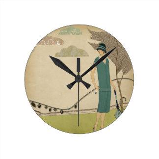 Art Deco Lady Round Clock