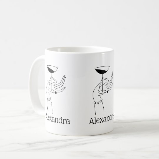 Art Deco Lady's Hand Holding Champagne Glass Coffee Mug