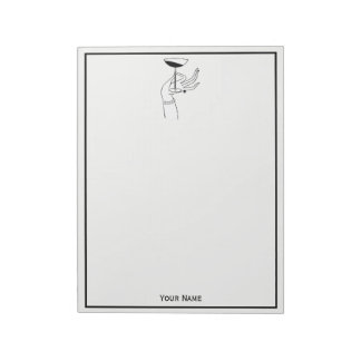 Art Deco Lady's Hand Holding Champagne Glass Notepad