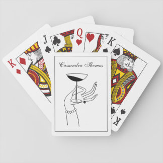 Art Deco Lady's Hand Holding Champagne Glass Playing Cards