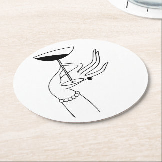 Art Deco Lady's Hand Holding Champagne Glass Round Paper Coaster