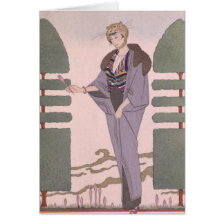 Art Deco Lady - Standing beside the trimmed plant. Card