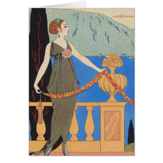 Art Deco Lady – Standing beyond the sea. Card