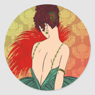 Art Deco Lady with Damask - BIANCA: Christmas Past Round Sticker