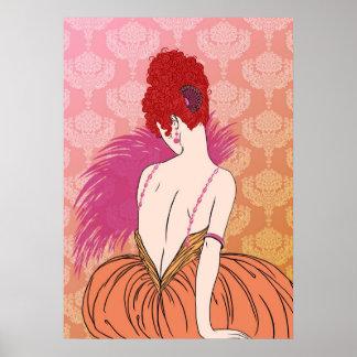 Art Deco Lady with Damask - BIANCA: Melon Melange Poster