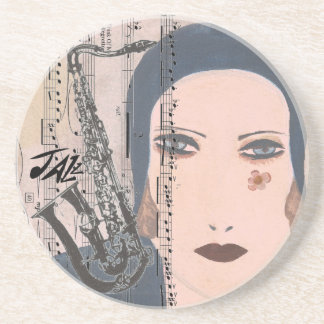 Art Deco Lady With Saxophone Coaster