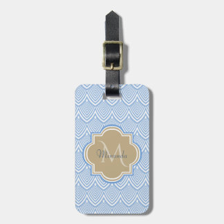 Art Deco Light Blue Fish Scales Tan Monogram Name Luggage Tag