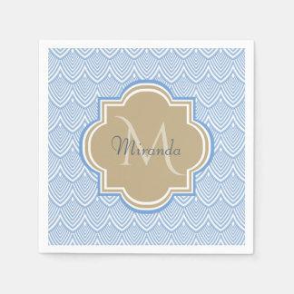 Art Deco Light Blue Fish Scales Tan Monogram Name Paper Napkin