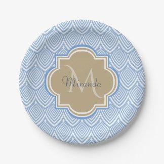 Art Deco Light Blue Fish Scales Tan Monogram Name Paper Plate