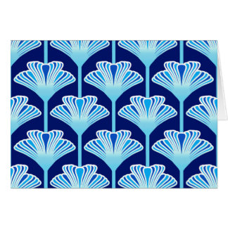 Art Deco Lily, Cobalt Blue, Aqua and White Card