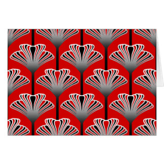 Art Deco Lily, Deep Red and Gray / Grey Card