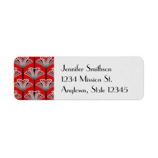 Art Deco Lily, Deep Red and Gray / Grey Return Address Label