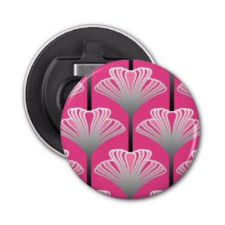 Art Deco Lily, Fuchsia Pink and Silver Gray Bottle Opener