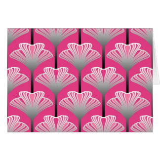 Art Deco Lily, Fuchsia Pink and Silver Gray Card