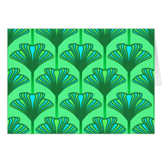 Art Deco Lily, Jade Green and Turquoise Card