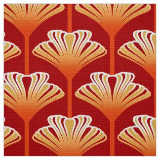 Art Deco Lily, Tangerine Orange and Gold Fabric