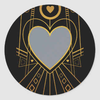 Art Deco Love Heart Border Round Sticker