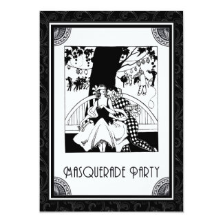 Art Deco Masquerade Party in Black and White 13 Cm X 18 Cm Invitation Card