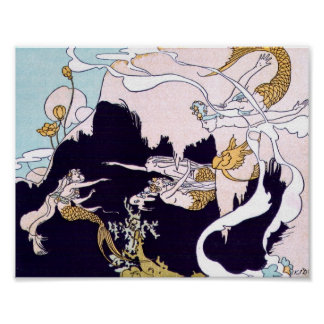 Art Deco Mermaids Poster