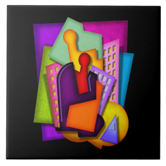 art deco metropolis abstract painting ceramic tile