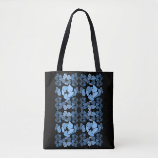 Art deco midnight blue floral print tote bag